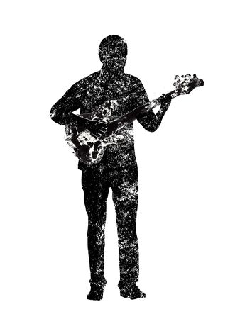 a guitar player, musical instruments, black and white graphics, abstraction