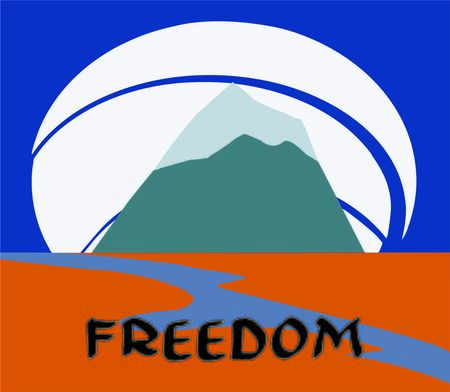 freedom, mountain landscape with a river Standard-Bild - 129294160
