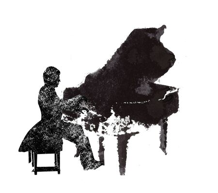 a pianist, musical instruments, black and white graphics, abstraction