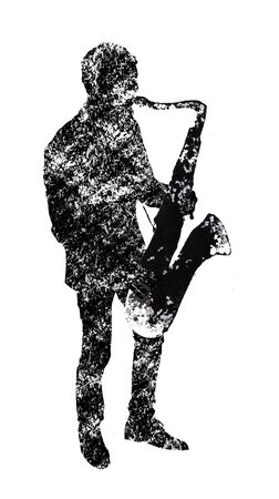 the saxophonist, musical instruments, black and white graphics, abstraction Standard-Bild - 129294205