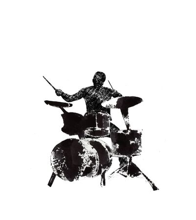 a drummer behind the drum, musical instruments, black and white graphics, abstraction