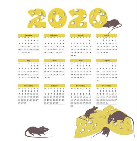 2020 calendar, year of the rat, the calendar with rats Zdjęcie Seryjne