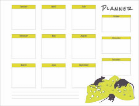 the month planner with rats for 2020 new year