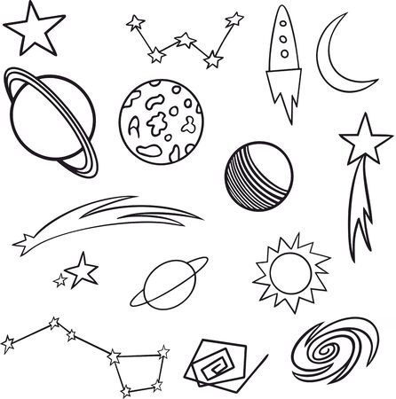 space pattern different elements, background, the constellations