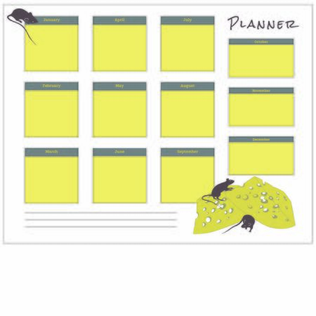 the month planner with rats for 2020 new year, template Ilustracja