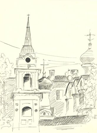 church, black pen drawing, dome with cross religious architecture Zdjęcie Seryjne