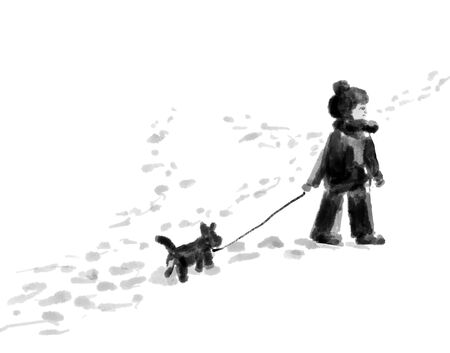 a child walks with a dog in the snow, winter games