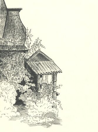 wooden house among trees, black pen drawing illustration