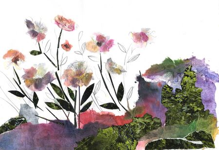 paper flowers, wild flowers in the forest, collage from paper Stockfoto