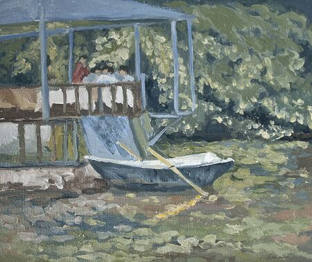 a boat on the water, water lilies on the lake, oil painting