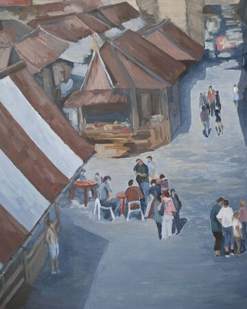 people on the street among houses, oil painting Zdjęcie Seryjne