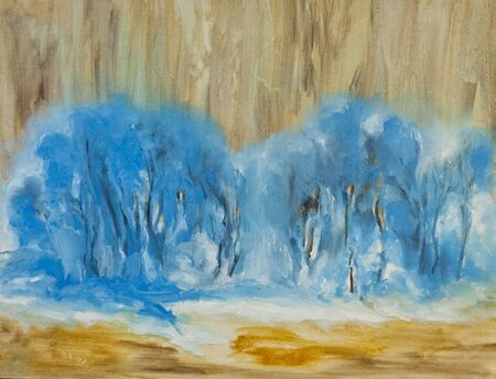 a blue winter forest, abstract oil painting, snowy forest