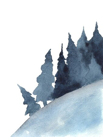 Christmas trees, winter forest, blue trees watercolor picture Zdjęcie Seryjne