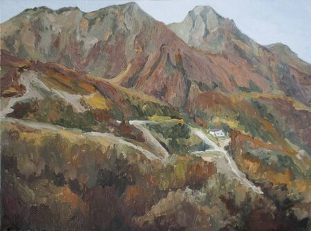 mountain landscape, autumn in the mountains, oil painting