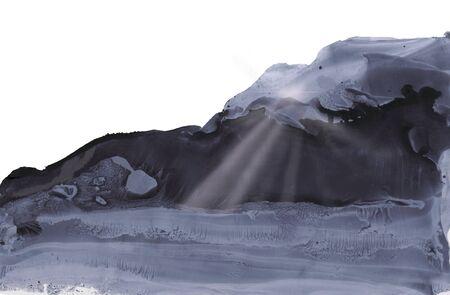 the sun rays through the dark sky, ink illustration