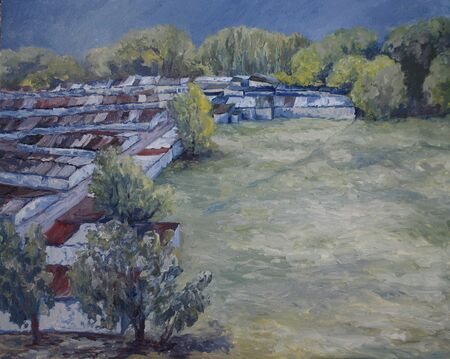 summer urban landscape, oil painting with the garages 스톡 콘텐츠