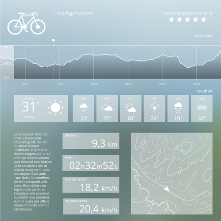 Ecology tourism. Vector web and mobile interface template. Ecological route widget design. Minimalistic backdrop Illustration