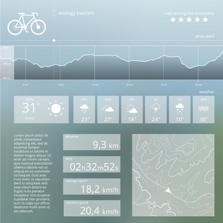 turismo ecologico: Turismo Ecolog�a. Vector web y plantilla de interfaz m�vil. Ecol�gico dise�o widget de ruta. Tel�n de fondo minimalista Vectores