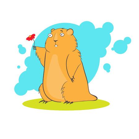 Cartoon cute groundhog with flower Vector