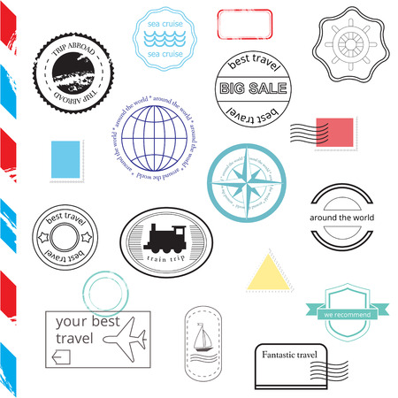 Vector Set of Stamps and Badges. Passport, post, travel stamps Vector