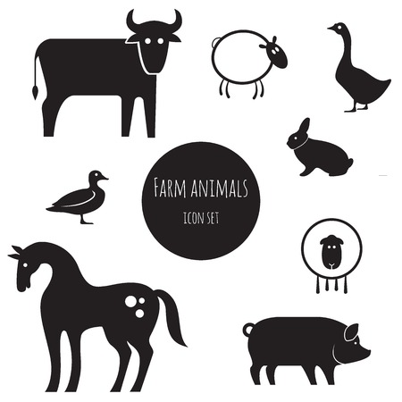 horse silhouette: Farm animals icon set.