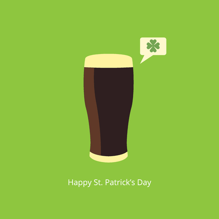 beer card: Beer with speech bubble and clover. Saint Patricks Day greeting card. Vector illustration