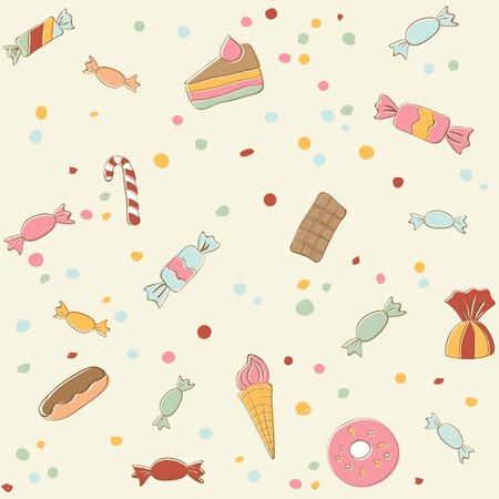 eclair: Cute sweets seamless pattern. Retro stile illustration. Vector illustration Illustration