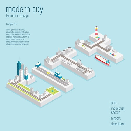 shipyard: Isometric modern city vector illustration with abstract downtown, airport, industrial zone and port Illustration