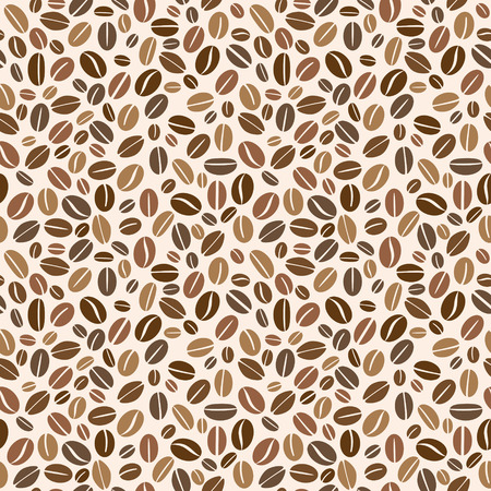 Granos de café de Brown sin patrón. Ilustración vectorial