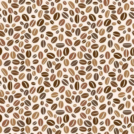 Brown coffee grains seamless pattern. Vector illustration