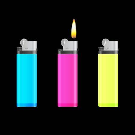 encendedores: Azul, rosa y encendedores de color amarillo con la llama. Ilustraci�n vectorial