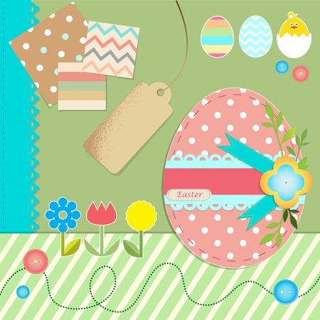 scrapbook paper: Easter scrapbook paper element set. Vector illustration