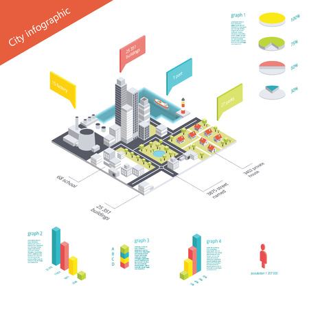 Isometrische stad infographic. Vector illustratie EPS10. Bestand bevat Ai en PDF-formaten.