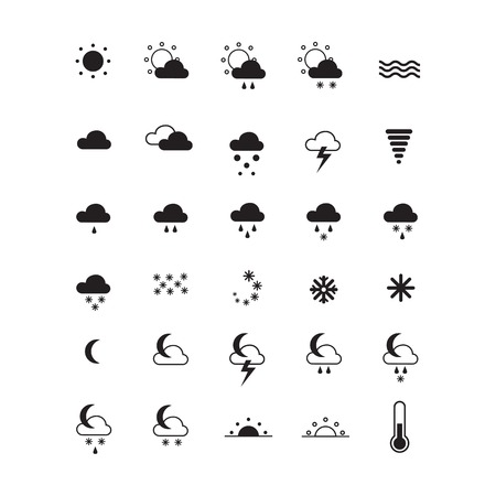 sun set: Weather icons isolated on white. Set of symbols for widgets, sites, apps and others. Vector illustration EPS10