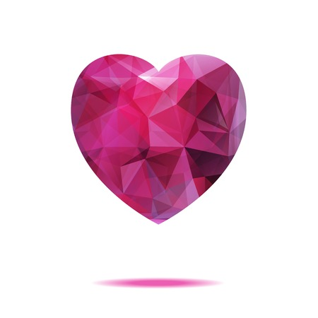 ruby stone: Red ruby heart isolated on white background. Vector illustration EPS10 Illustration