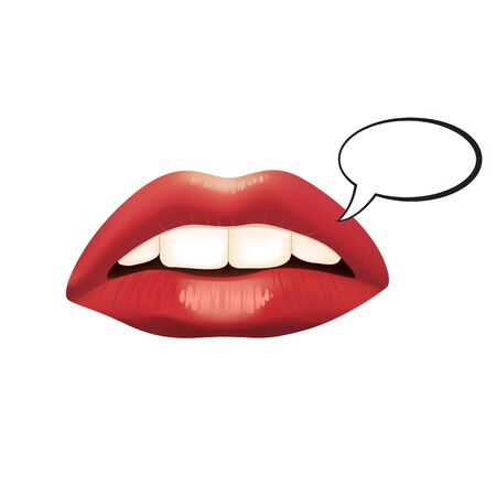 sensuality: Sensuality red lips with speech bubble isolated on white background. Vector illustration EPS10