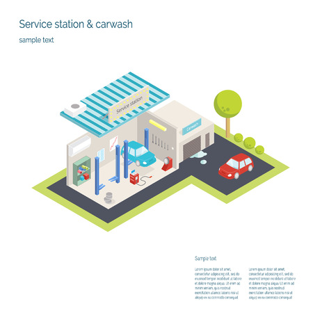 service station: Service station and car washing. 3D isometric vector illustration Illustration