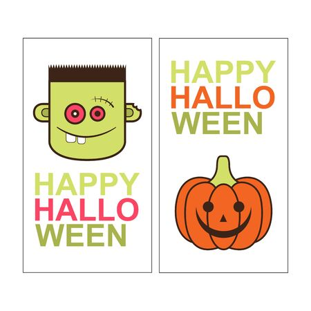 green lantern: Halloween card design. Vertical banner with zombie and pumpkin on white. Vector illustration EPS10 Illustration