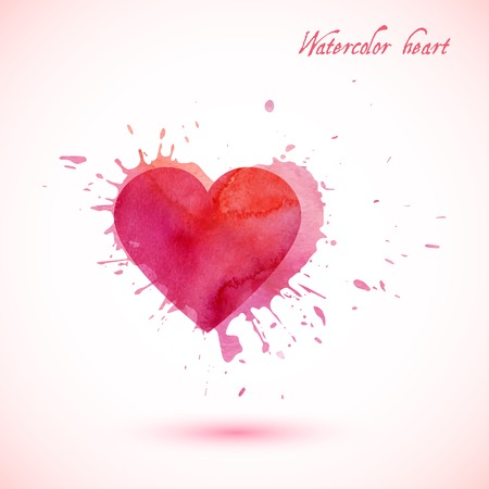 Vector abstract watercolor heart with splashes. Vector illustration EPS10