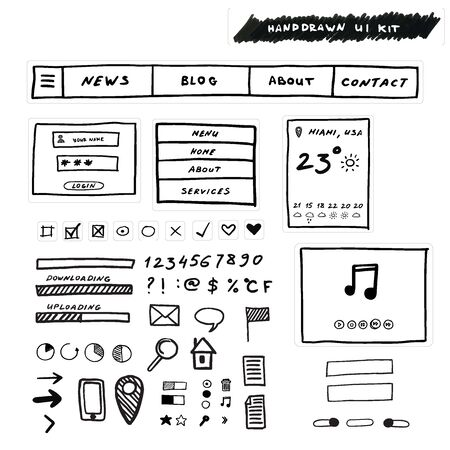 formats: Hand drawn Ui Kit. Design for websites, apps and interface. Vector illustration EPS10. File contains Ai and PDF formats.