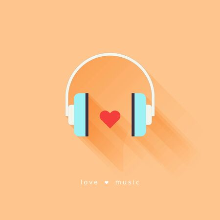 dj headphones: Headphone with heart. Flat design vector illustration with long shadow. Love music. Vector illustration Illustration