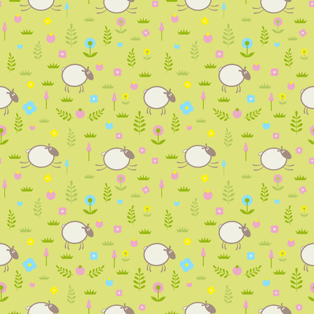 Cute seamless pattern with sheep on a flower field. Vector illustration EPS10. File contains Ai and PDF formats. Vector