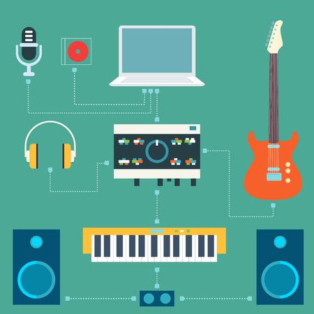recording studio: Regeling van geluid opnamestudio. Platte design elementen. Vector illustratie. Vector illustratie EPS10