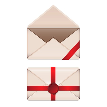 Old envelopes set with red wax seal and ribbons isolated on white background. Vector illustration EPS10 Vector
