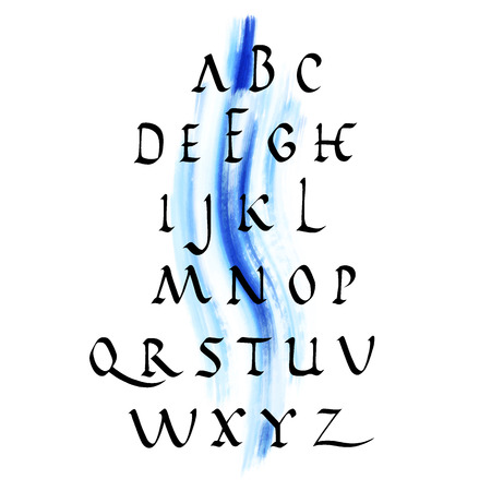 formats: Vector alphabet. Hand drawn letters with watercolor background. Vector illustration EPS10. File contains Ai and PDF formats.