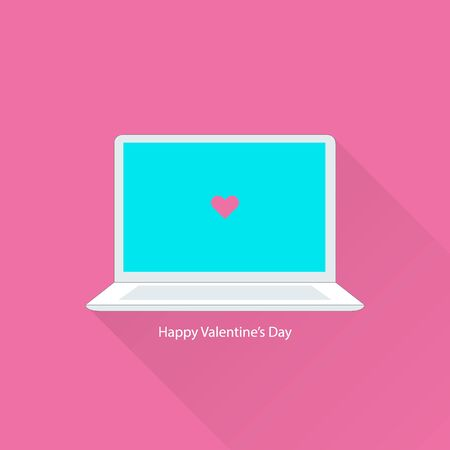 notebook computer: Valentines day greeting card with notebook. Vector illustration EPS10