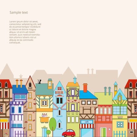 cartoon window: Seamless vector background with colorful houses. Vector illustration EPS10