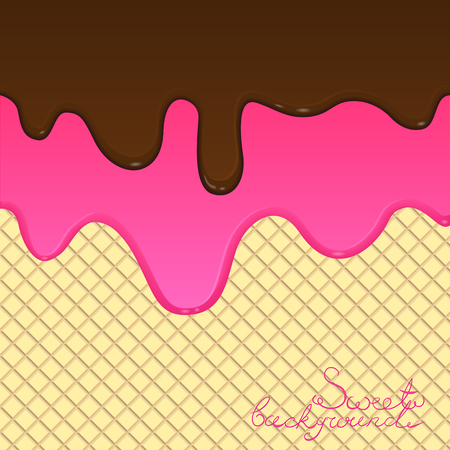 melted chocolate: Melted chocolate and glaze flow down on a wafer background. Vector illustration. Sweet background. Vector illustration EPS10