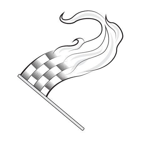 racing checkered flag crossed: Racing flag. Checkered flag with flame. Vector illustration isolated on white background