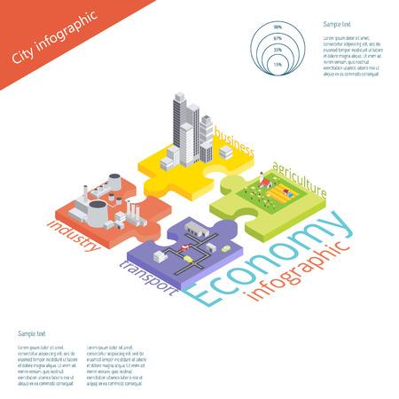 agricultura: Infografía Economía con rompecabezas. Vector ilustración isométrica 3D Vectores